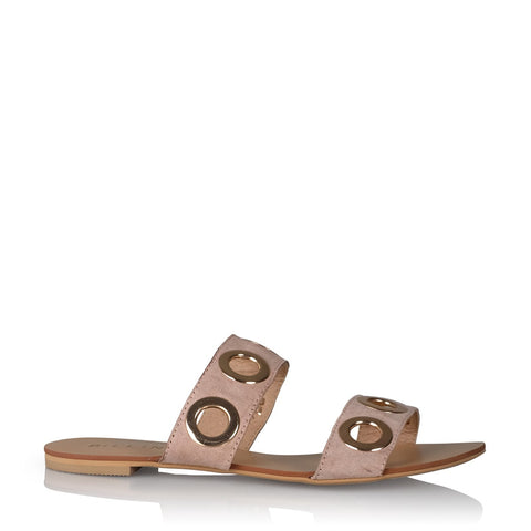 Maliha Blush Suede Slide