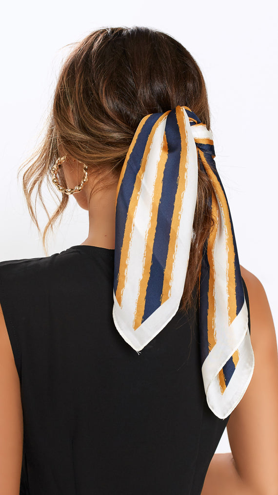 Leading Lady Head Scarf - Navy/Mustard