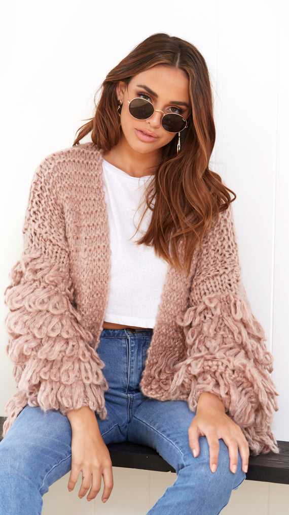 Splendour Knit Cardigan  - Dusty Pink