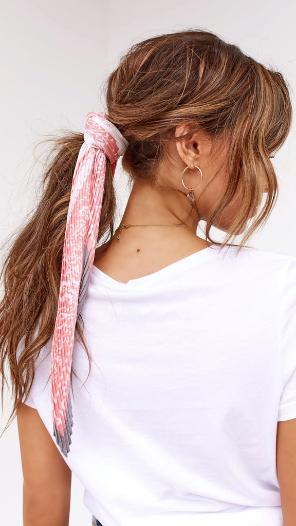 Pleated Head Scarf - Pink, White & Grey