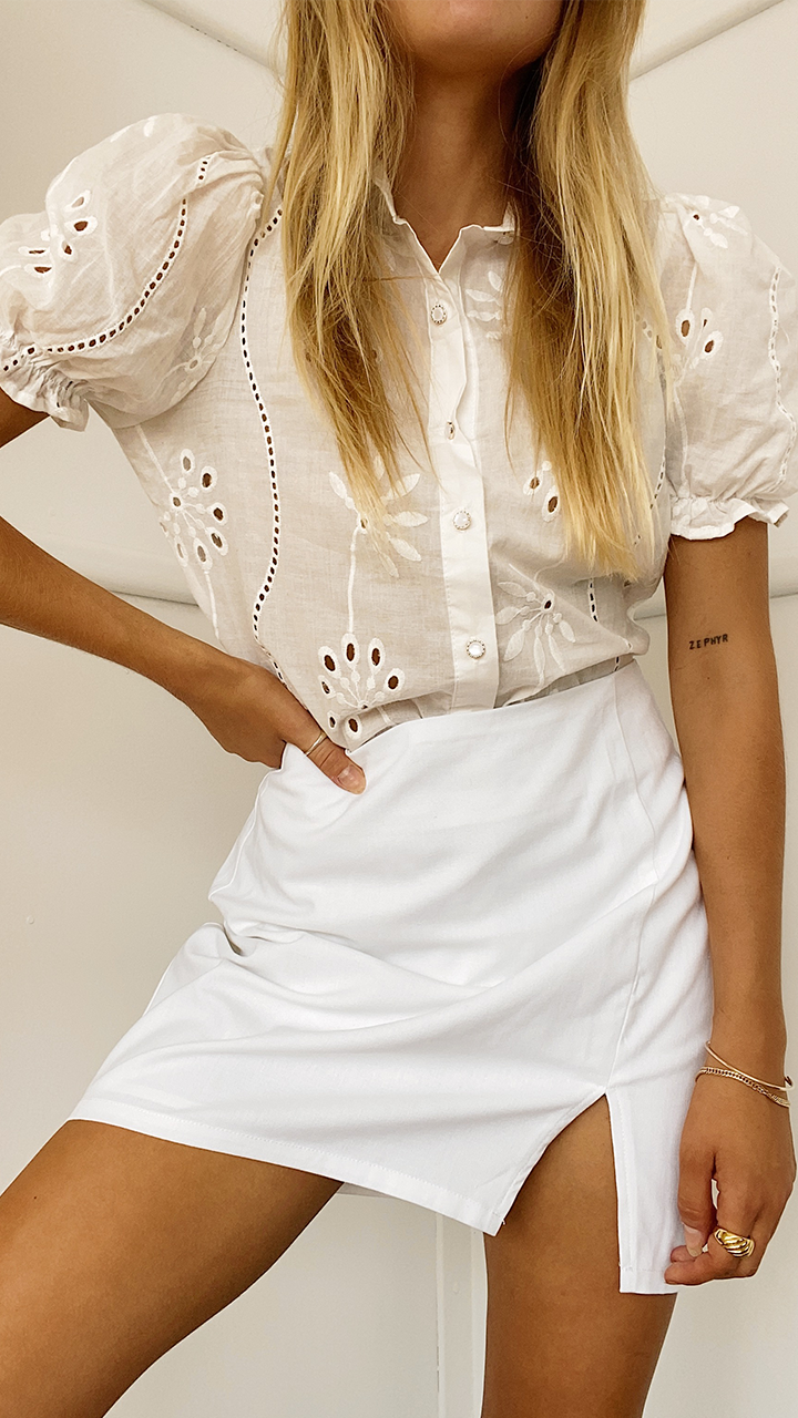 Adriana Blouse Top - White