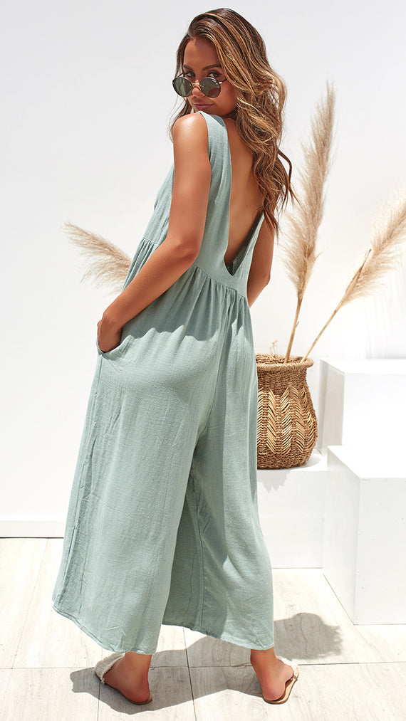 Hit the Road Jumpsuit - Seafoam