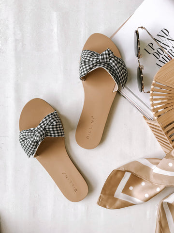 Cavanah Slides - Black Gingham