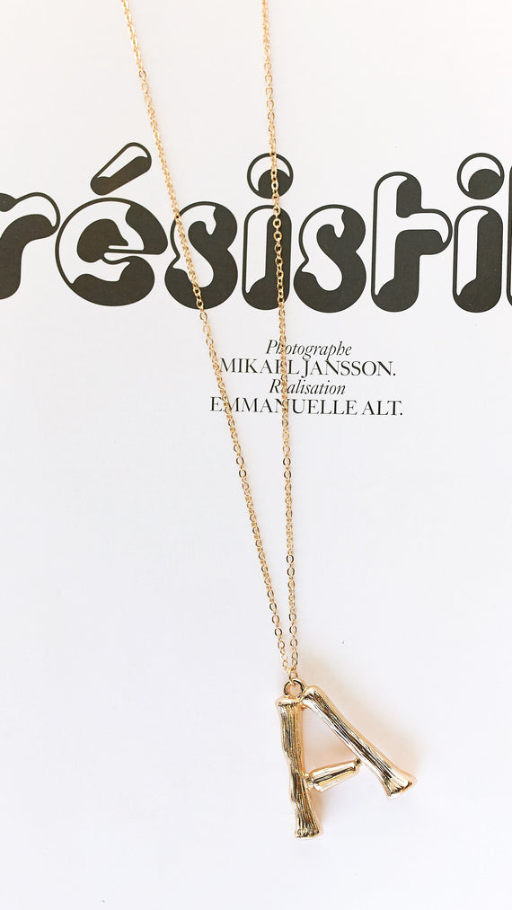Gold Initial Necklace - A