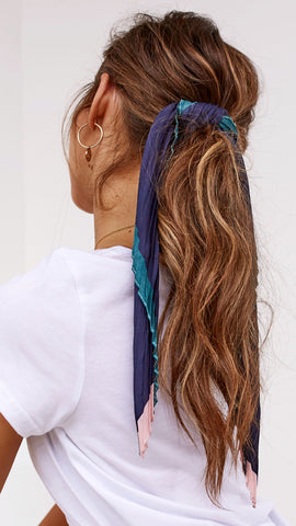 Pleated Head Scarf - Navy, Teal & Pink