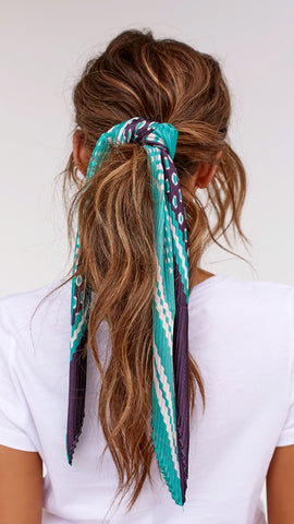 Pleated Head Scarf - Navy & Teal
