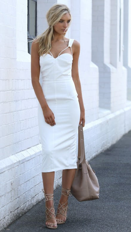 Sweet Nothings Midi Dress - White