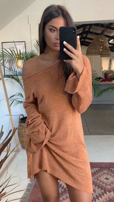 Amber Knit Dress - Terracotta