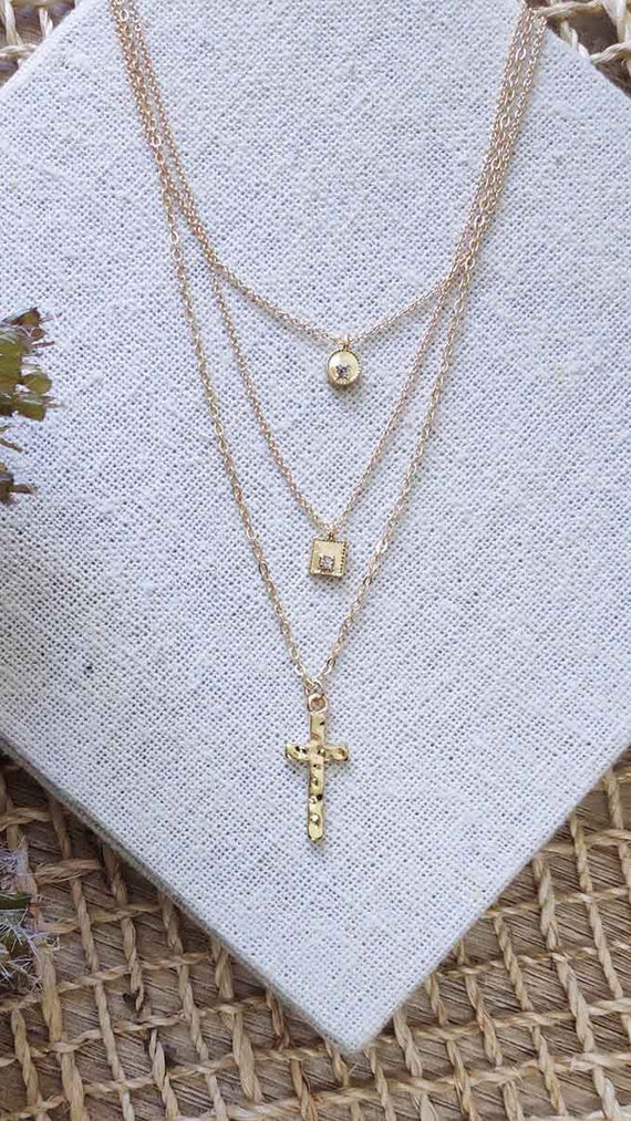 Mary Cross Pendant Necklace -Gold