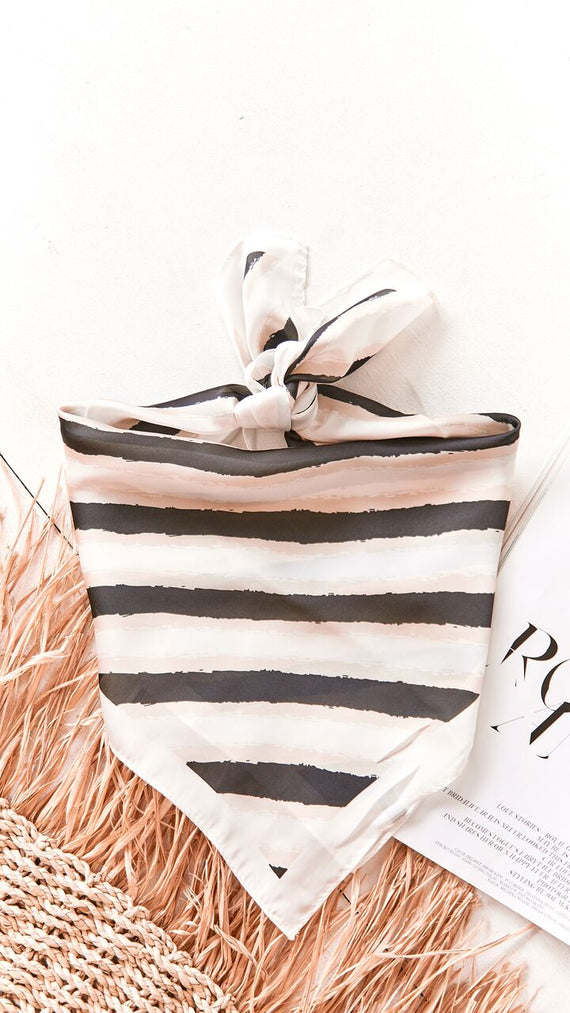 Steal The Show Head Scarf - Beige/Black Stripe