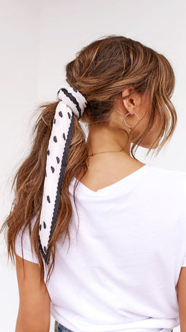 Pleated Head Scarf - Cream & Black Polka