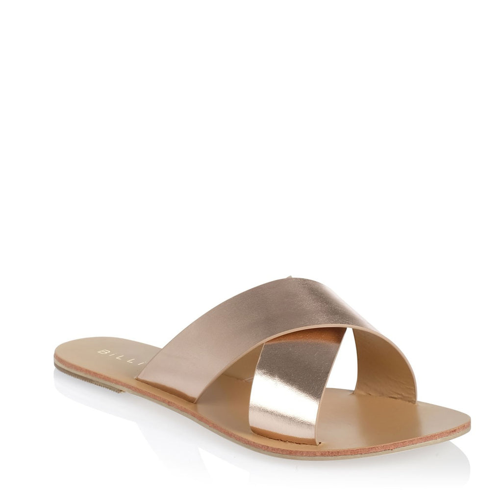 MAJORCA METALLIC ROSE GOLD SLIDES
