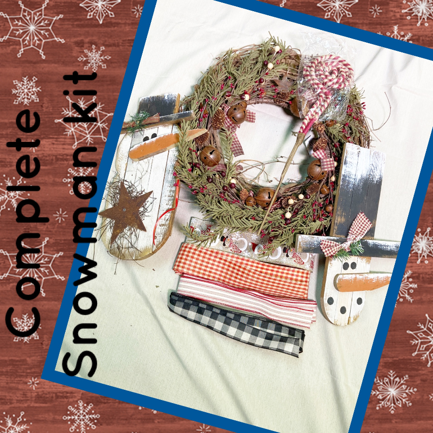 Primitive Snowman Wreath Kit