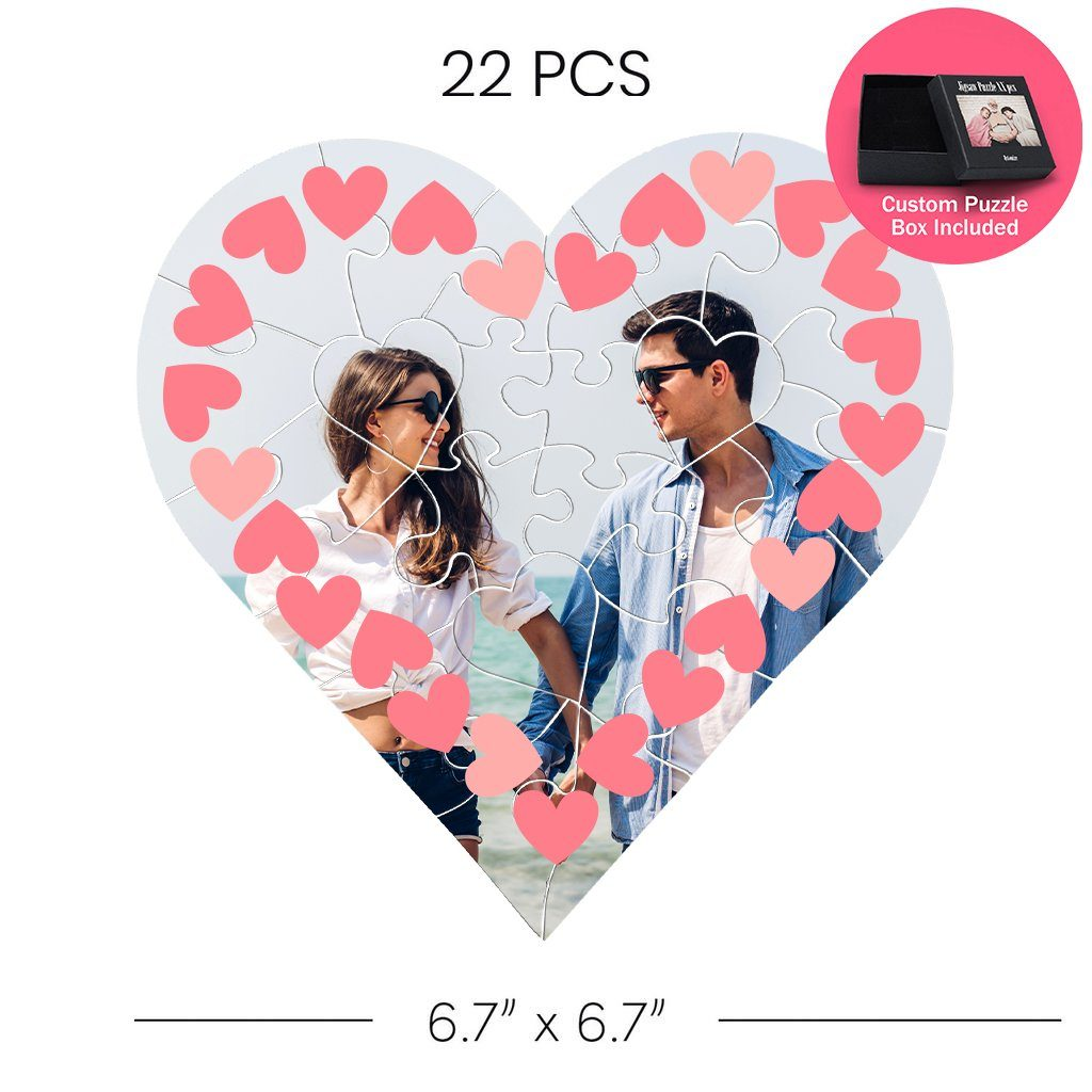 Valentines Frames Heart Shaped Jigsaw Puzzle 22 pcs   Custom Box