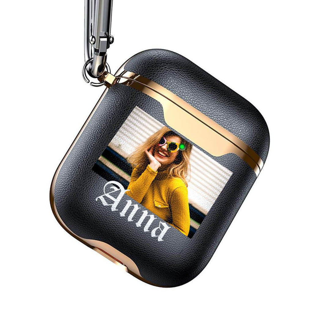 Custom Photo Electroplated Leather Airpod Case