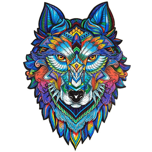 Wooden Jigsaw Puzzle Wolf shaped- Unique Colorful Animal Shaped Set for Kids, Adults - Decorative Picture Game, Beautiful Laser Cut Wood Pieces