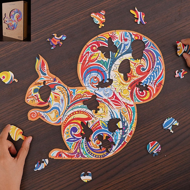 Wooden Jigsaw Puzzle Squirrel shaped- Unique Colorful Animal Shaped Set for Kids, Adults - Decorative Picture Game, Beautiful Laser Cut Wood Pieces