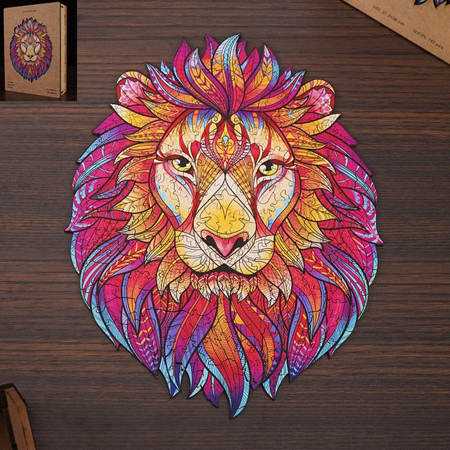 Wooden Jigsaw Puzzle Lion shaped- Unique Colorful Animal Shaped Set for Kids, Adults - Decorative Picture Game, Beautiful Laser Cut Wood Pieces
