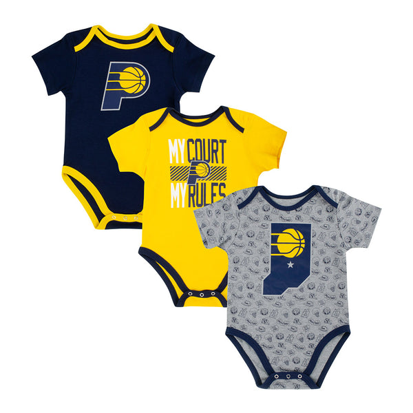 Infant Indiana Pacers Trifecta 3-Piece Onesie Set