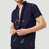 Palm All Over Print Short Sleeve Shirt | Blue Print