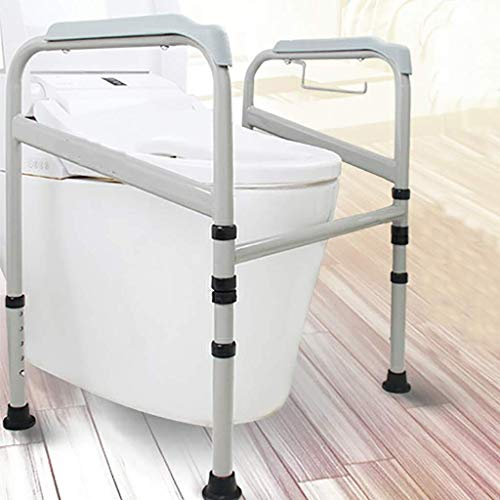 Grab Bar Toilet Surround Frame, Foldable Adjustable Height, Toilet Safety Frame, Ideal for Elderly & Disabled