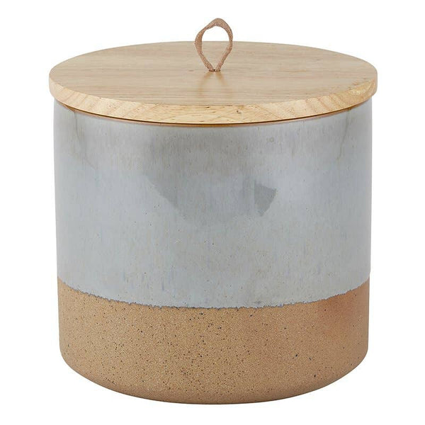 "6-1/4"" Ceramic Jar with Wood Lid -Grey and Tan"