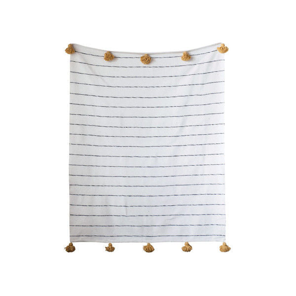 <p>Black &amp; White Cotton Gold Poms Throw, 59 Inch x 78 Inch, Brown and Mustard</p>