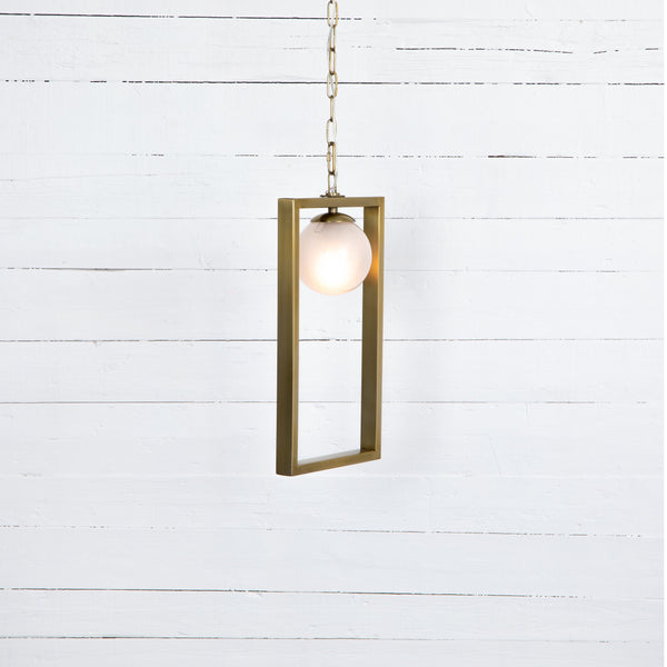 "Antique brass-finished steel forms an open triangle, securing a single frosted glass bulb shade.  Minimum hanging length: 25"" Overall Dimensions: 12.00""w x 6.00""d x 21.00""h"