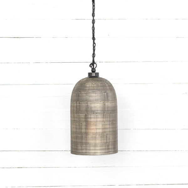 "Hand-finished pendant with an emphasis on elegance. Etching and layered, liquid silver finish ushers a uniquely artful look to glass lighting.  Minimum hanging length: 23"" Overall Dimensions: 10.00""w x 10.00""d x 17.00""h"