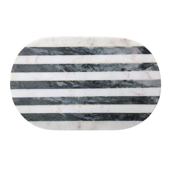 "15""L x 9""W Marble Tray/Cutting Board w/ Black & White Stripe"