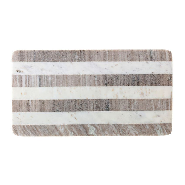 "<p>21""L x 11""W Marble Tray/Cutting Board, Buff &amp; White Stripe</p>"