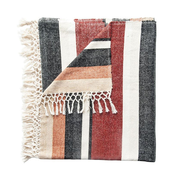 "<p>60""L x 50""W Hand-Woven Cotton Blend Throw w/ Stripes &amp; Fringe, Multi-Color</p>"