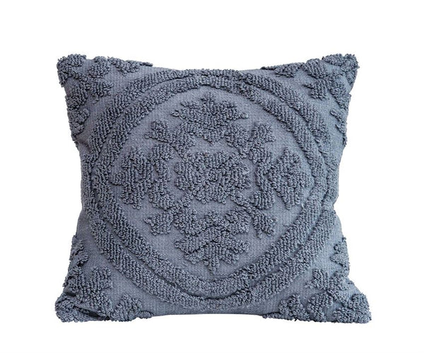 "<p>18"" Square Cotton Chenille Pillow, Grey</p>"