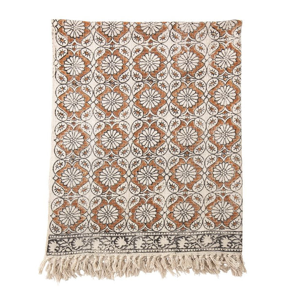 "<p>60""L x 50""H Cotton Printed Throw w/ Fringe, Multi Color</p>"