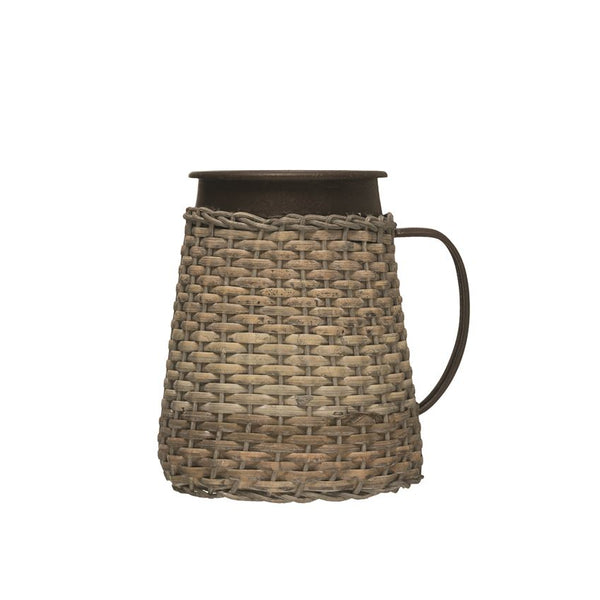 "<p>6"" Round x 7""H Decorative Metal &amp; Woven Rattan Pitcher</p>"