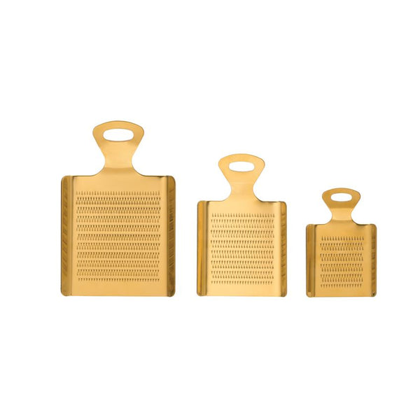 "5.25""L, 4.25""L, & 3.25""L Stainless Steel Graters, Gold Finish, Set of 3"