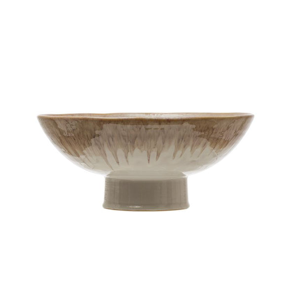 "12"" Round x 5""H Stoneware Footed Bowl, Reactive Glaze, Cream Color (Each One Will Vary)"