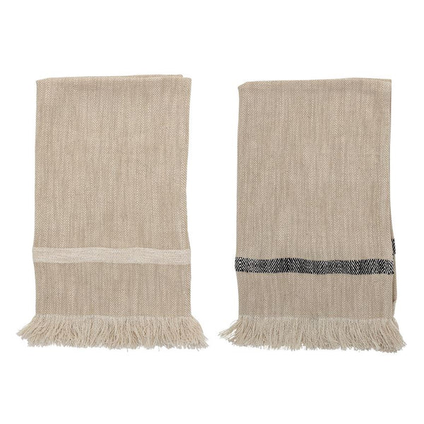 "28""L x 18""W Woven Cotton Striped Tea Towels with Fringe, Natural, Set of 2"