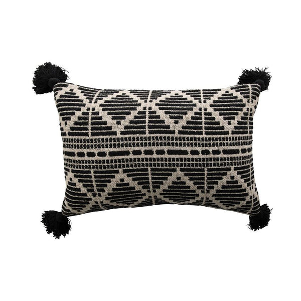 "24""L x 16""H Woven Recycled Cotton Blend Lumbar Pillow with Tassels, Black & Beige"