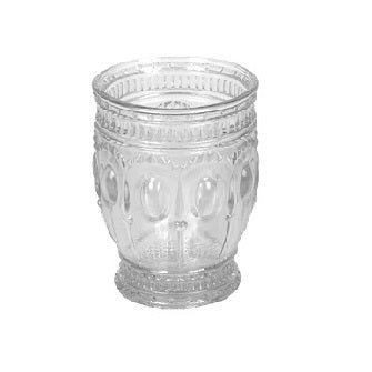 "<p>Embossed Glass drinking and/or votive holder measures 3"" Round x 3-1/2""Height.    </p>"