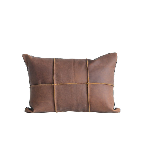 "<p>Leather &amp; Felt Pillow. 20""L x 14""H </p>"
