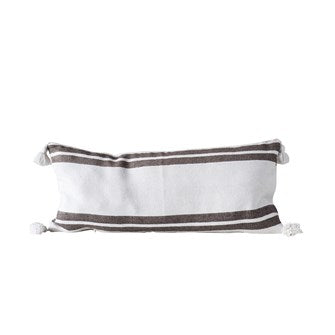 "<p>Cotton Striped Pillow, Brown w/ White Tassels. Measurements: 35""L x 16""H </p>"