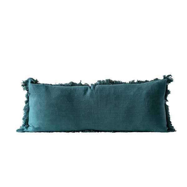 "<p>Cotton Pillow w/ Fringe, Green. Measurements: 36""L x 14""H </p>"