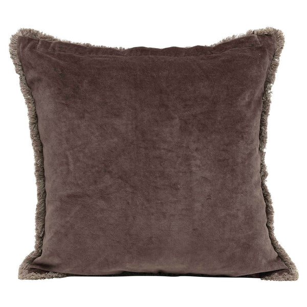 "18"" Square Cotton Velvet & Linen Pillow w/ Metal Beads & Trim, Plum Color"