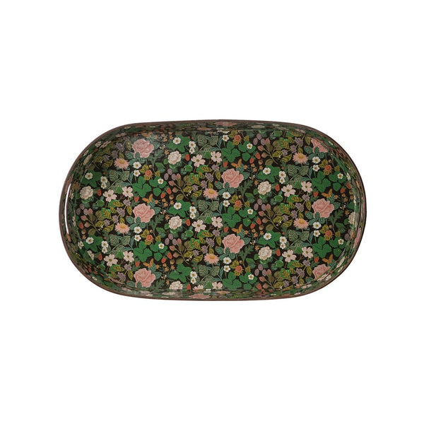 "<p>Decorative Metal Tray w/ Floral Pattern &amp; Handles, Black. Measurements 25-1/4""L x 15""W x 4""H </p>"