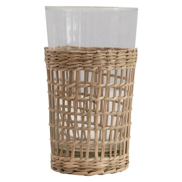"3-1/4"" Round x 5-1/4""H 12 oz. Drinking Glass w/ Woven Seagrass Sleeve"