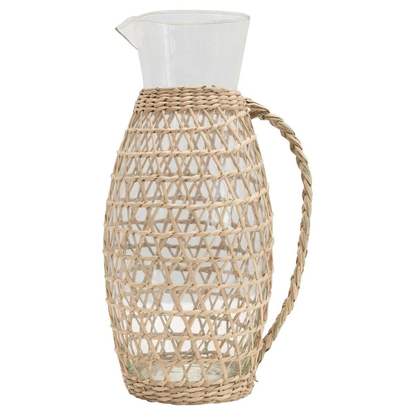 "3""L x 5""W x 9-1/2""H 64 oz. Glass Pitcher w/ Seagrass Weave"