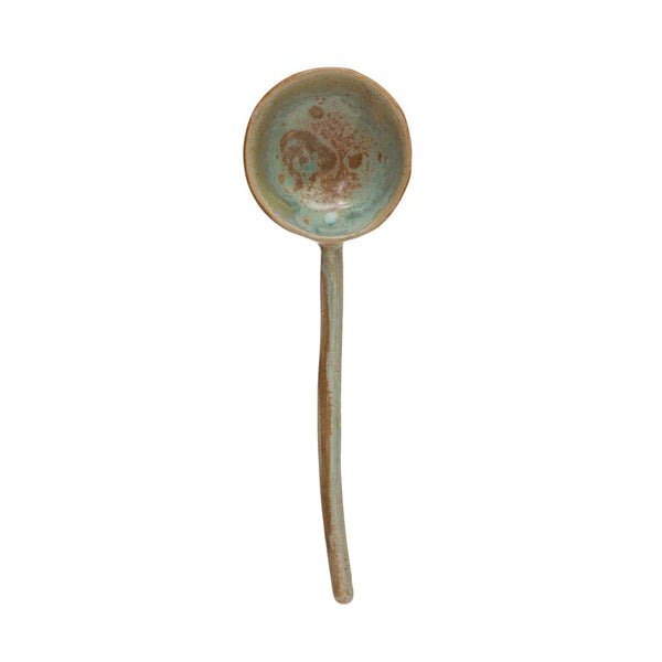"8.25""L Stoneware Spoon, Opal Reactive Glaze, Celadon Color (Each One Will Vary)"
