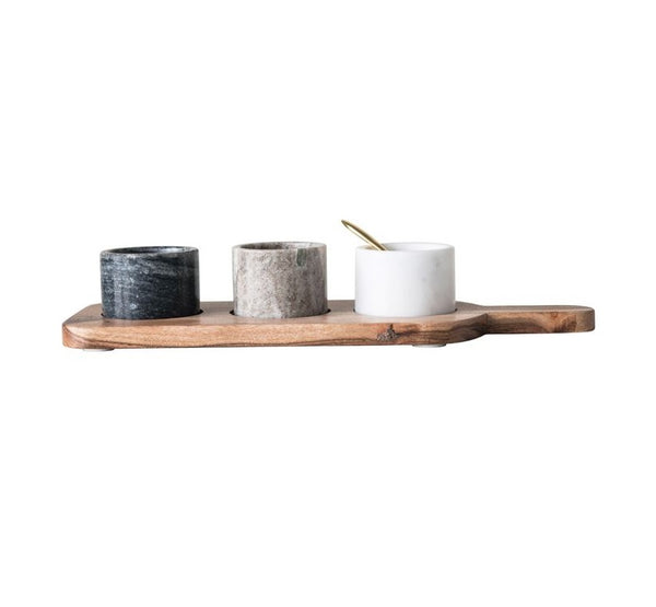 "<p>15-1/2""L x 5-1/2""W Acacia Wood Board w/ 3 Marble Pinch Pots &amp; Brass Spoon, Set of 5</p>"