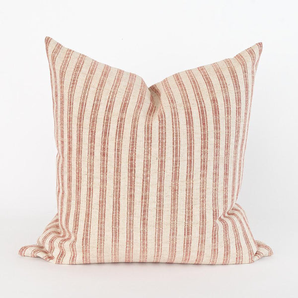 This classic ticking stripe pillow is made in a durable high-performance weave. The background is a creamy colour with a washed-out red stripe on a beautiful slub.  Thompson is a classic a modern farmhouse style but could easily mix in with other styles. Try it on a kitchen banquette, guest bed, or the sofa. The high-performance fabric is stain resistant, durable, and easy to clean.